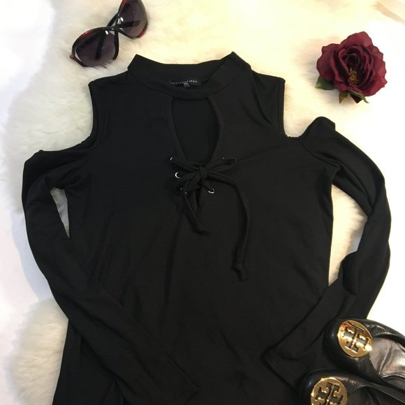 3/$25 Sexy Long Sleeve Lace Up Cold Shoulder XS